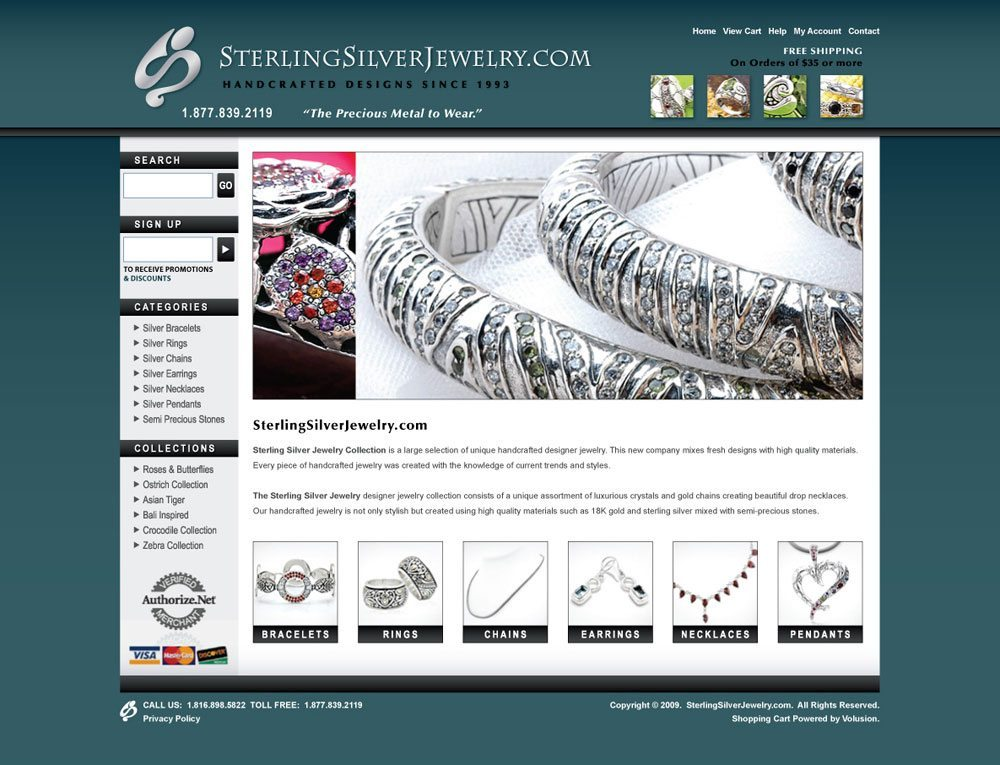 Sterling Silver Jewelry eCommerce Website